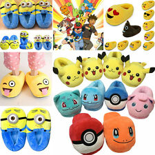 Fashion Emoji Pokemon Unisex Stuffed Slippers Winter Home Indoor Plush Shoes