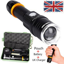 6000LM XM-L T6 LED Zoomable Tactical Flashlight Torch+Battery+ UK Charger +Pouch