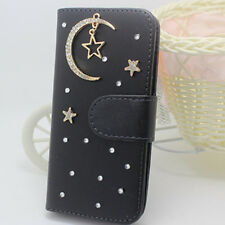 Crystal Magnetic Diamonds moon stars PU leather wallet flip black case cover #g