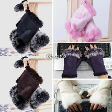 Women's Rabbit Fur Imitation Leather Wrist Fingerless Gloves UTAR Mitten
