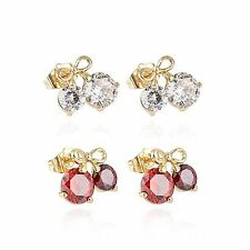 Cherry Bow Ruby Big Crystal Stud Earrings Ear Earings Lot Yellow Gold Filled