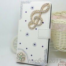 Bling Diamonds Crystal flowers music PU Leather flip wallet Phone Cover Case #J