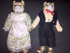 Vintage Cat Couple Dolls with Ceramic Head and Paws 11 inch tall