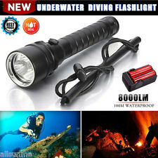 8000LM 3X XM-L2 T6 LED 100M Underwater Diving Scuba Flashlight 18650 Zoom Torch
