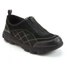 BRAND NEW CROFT&BARROW LIGHT-WEIGHT LEATHER SLIP ON CASUAL SHOES BLACK/GREY