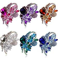 Elegant Silver Plated Diamante Crystal Flower Brooch Pins Party Jewelry 6 Colors