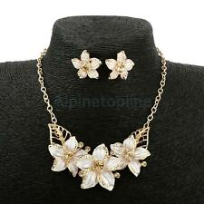 Orchid Flower Oil Drip Rhinestone Necklace Earrings Jewelry Set for Wedding