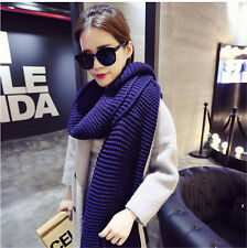 Winter Lady Women Long Style Warm Soft Scarf Fine Wool Knitting Solid Color