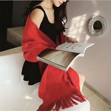 Winter Lady Women Long Style Warm Soft Scarf Sided Double Color Tassel Shawl