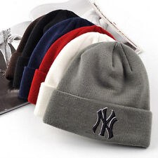 Unisex Winter Warm Beanie Skull Hat Cuff Solid Hip-Hop Bboy Wool Knit Ski NY Cap