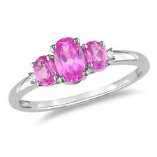 10k White Gold 1 1/4 Ct TGW Pink Sapphire & Diamond Accent Three-Stone Ring