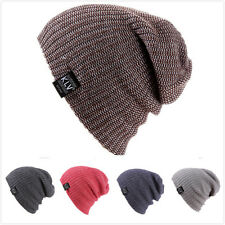 New Winter Women Warm Hat Mixed Color Striped Knit Outdoor Ski Cap