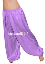 Medium Purple Satin Harem Yoga Pants Genie Aladdin Belly Dance Trouser Pantaloon