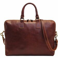 Floto Imports Luggage Milano Slim Briefcase,Italian Calfskin Leather