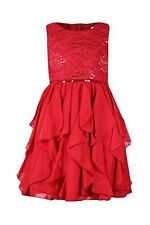Youngland Little Girls 4-6X Lace Cascading Ruffle Red Holiday Dress
