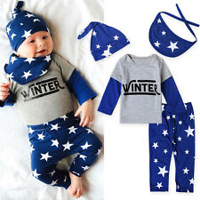 Toddler Baby Boy Star Outfit Shirt Top Pants Hat Bib Set 4PC Long Sleeve Clothes