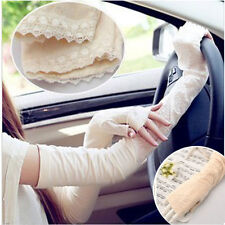 Womens Lace Up Sun Block UV Protection Arm Sleeve Evening Bridal Driving Gloves