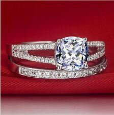 2 carat ct 925 sterling silver NSCD cubic zirconia cushion cut engagement ring