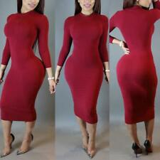 New Style Women Trendy Turtle Neck Long Sleeve Stretch Pencil Dress