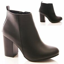 LADIES WOMENS BLACK ANKLE BOOTS BLOCK HIGH HEEL WORK SNAKE FASHION SHOES SIZE
