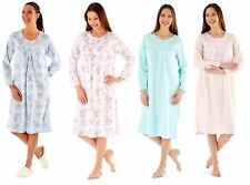 Womens Embroidered Soft Fleece Long Sleeve Nightie Nightwear Nightdress MED23