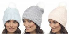 Ladies Fluffy Bobble hat with Pom Pom Winter thermal Beanie