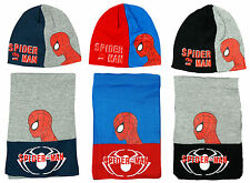 Boys Official Marvel Spiderman Knit Winter Beanie Hat & Scarf Set 3 to 12 Years