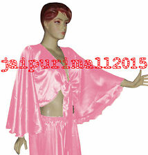 Pink Satin Flair Wrap Top Tie Belly Dance Top Choli Gypsy Costume Tribal Haut