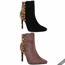 Womens Ladies Lined Leopard Fur Chelsea High Heel Ankle Boots Winter Shoes Size