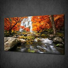 WATERFALL IN AUTUMN FOREST MODERN CANVAS WALL ART PRINT PICTURE READY TO HANG