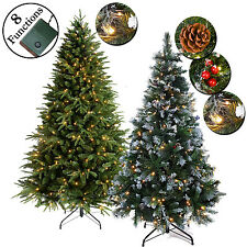 LUXURY GREEN ARTIFICIAL PRE LIT CHRISTMAS TREE WHITE MULTI LEDS FROSTED TIPS