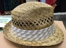 100% Straw Hat with White/Green/Tan Band New Men's Broner Wear It See Photos