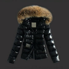 Women Black Faux Fur Padded Puffer Hooded Quilted Jacket Coats Outerwear US 4-14