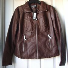 BRAND NEW KENNETH COLE REACTION FAUX LEATHER MOTO JACKET RED-MOCHA-SAND M-L-XL