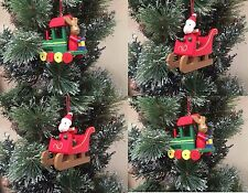 Gisela Graham Wooden Santa Reindeer Hanging Christmas Tree Decorations