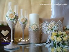 Gold Ivory Rustic Wedding Personalized Champagne Wine Toasting Glasses Flutes
