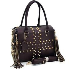 Fashionable Faux Leather Studded Fringe Cross Satchel Brown NWT