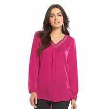 BRAND NEW APT.9 EMBELLISHED SATIN BLOUSE TOP TUNIC SIZES S-M-L-XL VARIATY COLORS