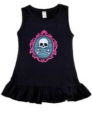 Black Skull Cameo Kids Dress Toddler Cute Gift Alternative Punk Rockabilly Pink