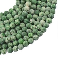 Round Frost Green Jade Gemstone Loose Spacer Beads Jewelry Making Findings