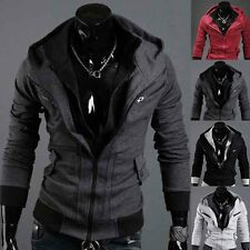 Hot Sexy Slim Fit Mens Top Designed Hooded Zip Up Hoodies Jackets Coats 4Color
