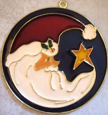 NEW HANDCRAFTED STAINED GLASS CHRISTMAS THREE ORNAMENTS SANTA, DEER