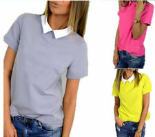 Slim Shirt Tops Doll Collar Short Sleeve Chiffon Pure Color New Korean Women