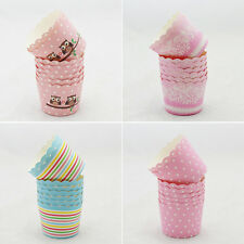 50 Pcs Utility Cake Baking Paper Cup Cupcake Muffin Cases Fit Home Party HU