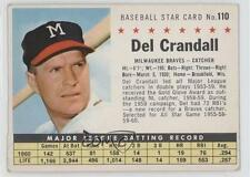1961 Post Cereal #110.2 Del Crandall (Perforated) Milwaukee Braves Baseball Card