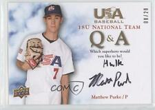 2008 Q & A #18QA-MP.2 Matthew Purke (Superhero) Team USA (National Team) Auto