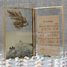 Vintage Shabby Chic Antique Metal Glass Picture Photo Frame Copper Tone