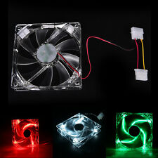 Top Quad 4-LED Light Neon Clear 120mm PC Computer Case Cooling Fan for DIY