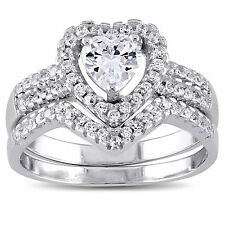 Sterling Silver Cubic Zirconia Bridal Heart Halo Wedding Ring Set