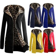 Women Warm Winter Leopard Hooded Hoodies Parka Coat Overcoat Long Jacket Outwear